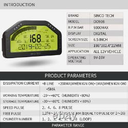Car Dashboard LCD Screen Digital Gauge Dash Race Display Bluetooth Sensor Kits