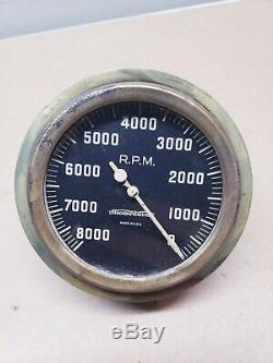 RARE REVERSE Vintage 8000RPM Stewart Warner Tachometer Scta Trog Hot Rod Tach 8k