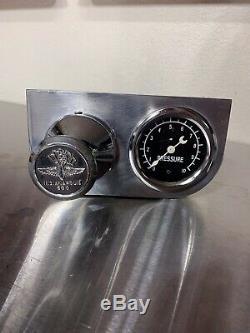 Rare Under Dash Mount Stewart Warner Fuel Pressure Gauge & Bell Pressure Pump