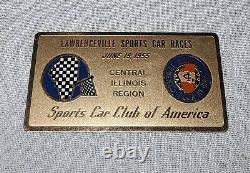 Scca Sports Car Club Of America Lawrenceville Races Dash Plaque June 19, 1955