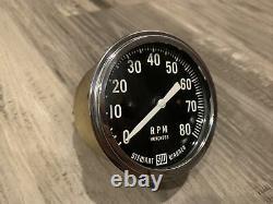 Vintage 8K RPM Tachometer Gauge SCTA Hot Rod Dash Panel TROG Stewart Warner