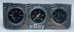 Vintage STEWART WARNER Triple Under Dash Gauge Set 1960's Chrome