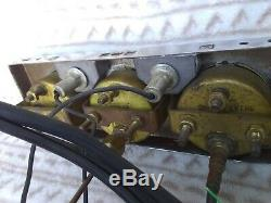 Vintage Stewart Warner Green Line Triple Under Dash Gauge Set 1960's Day2 NICE