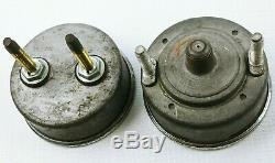 Vintage Stewart Warner SW Green Line Dual Double Under Dash Gauge Set Oil & Amps