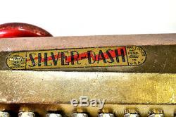 Antique Ca. 1930 Buffalo Marx Toy Argent Dash Pull Windup Tin Litho Voiture De Course