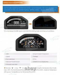 Car Race Dash Dashboard Affichage Numérique Gauge Meter Capteur Complet Obdll Bt 9-16v