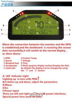 Course Dash Voiture Affichage Obd2 Bluetooth, Écran Gauge Numérique D'affichage À Cristaux Liquides Du Tableau De Bord