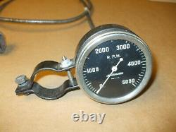 Vintage 5000rpm Stewart Warner Tachometer Curved Pre Wings Withcolumn Mount & Cabl